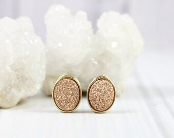 Druzy Earrings, Rose Gold Earrings, Druzy Stud Earrings, Druzy Studs, Post Earrings, Bridesmaid Earrings, Bridesmaid Gifts, Wire Wrapped,