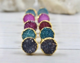 Natural Druzy Earrings, Druzy Studs, 14k Gold Filled Stud Earrings, Post Earrings, Raw Stone Jewelry, Christmas Gifts for Women Friend Mom