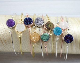 Druzy Bracelet, Bridesmaid Bracelet, Stone Bracelet, Minimalist Bracelet, Raw Crystal Jewelry, Gold Filled, Sterling Silver, Rose Gold,