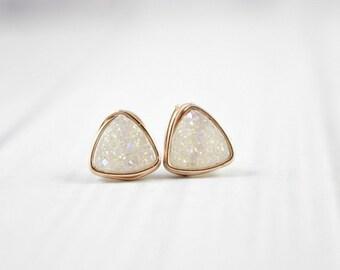 Druzy Earrings, Bridesmaid Earrings, Stone Earrings, Stud Earrings, Rose Gold Earrings, White, Gold Filled, Sterling Silver, Triangle,Bridal