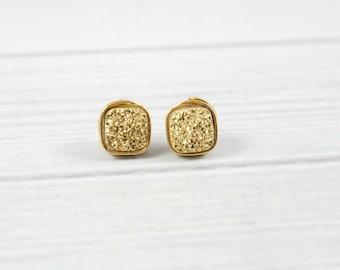 Druzy Earrings, Bridesmaid Earrings, Gold Earrings, Stone Earrings, Bridesmaid Jewelry, Wedding Earrings, Bridal, Sterling Silver, Square