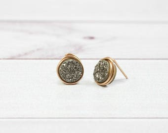 Druzy Earrings, Bridesmaid Earrings, Stone Earrings, Wedding Earrings, Bridal Jewelry, Stud Earrings, Silver, Gold, Rose Gold, Womens Gift