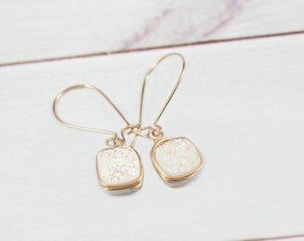 Druzy Earrings, Rose Gold Earrings, Dainty Earrings, Bridesmaid Earrings, Stone Earrings, Minimal earrings, Dangle Earrings, Crystal, Square