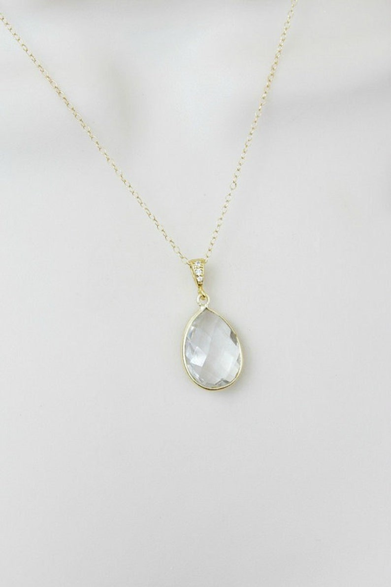 Silver Wedding Jewelry Simple Birthstone Necklace Crystal Quartz Necklace 14k Gold Filled Necklace Bridal April Birthday Gifts for Mom