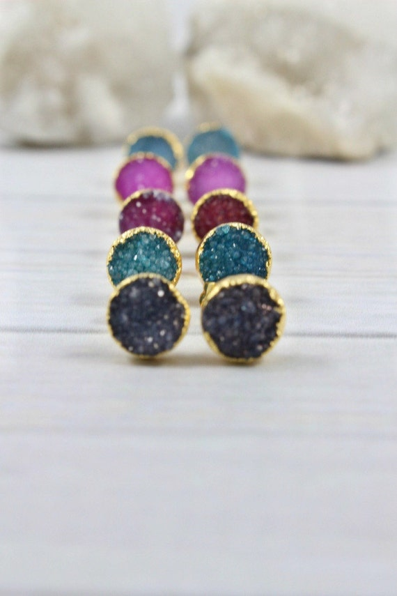 14k Gold Filled Post Earrings Bridesmaid Jewelry Natural Druzy Earrings Small Stone Earrings Bridal Party Gifts Wedding Druzy Studs