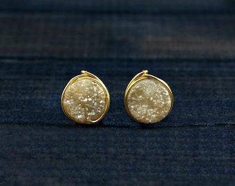 Druzy Earrings, Druzy Stud Earrings, Bridesmaid Earrings, Druzy Studs, Gold Filled, Wedding Earrings, Champagne, Sterling Silver, Rose Gold,