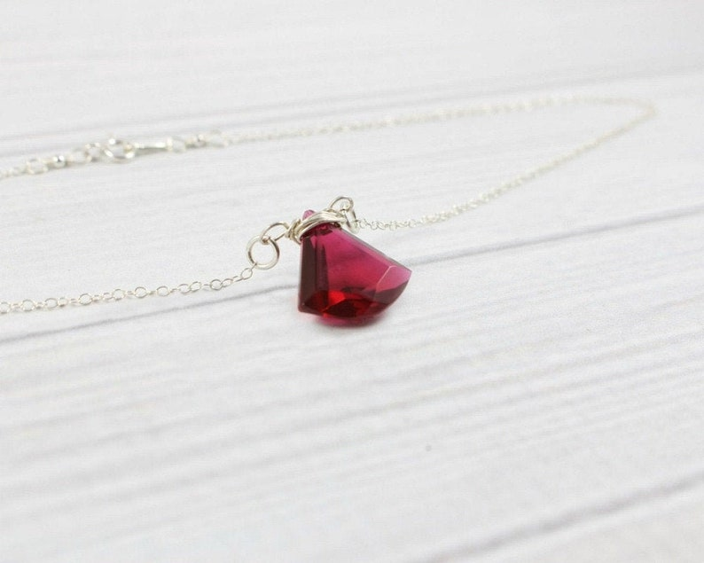 Sterling Silver Ruby Necklace Natural Stone Necklace Dainty image 0