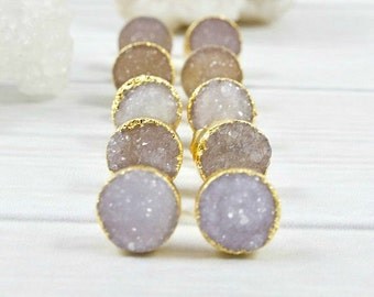 Druzy Earrings, Raw Stone Earrings, Small Crystal Earrings, Gold Bridesmaid Earrings, Bridal Jewelry, Druzy Studs, Christmas Gifts for her