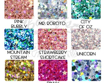 Chunky Glitter Sample Pack 9 - 1/2oz Jars