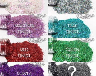 MULTI TINSEL PACK || 8oz Total || Multiple Colors of Tinsel Glitter