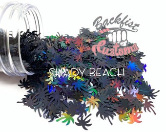 SHADY BEACH || PALM Tree Shaped Glitter, Solvent Resistant