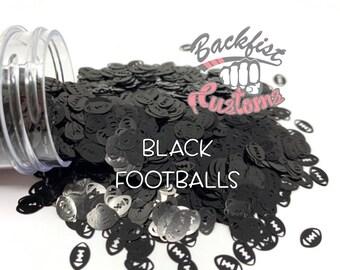 BLACK FOOTBALLS || Football Shaped Glitter, Solvent Resistant