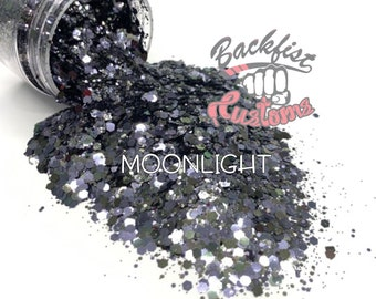 MOONLIGHT   || Solvent Resistant, Chunky Mix Holographic Glitter