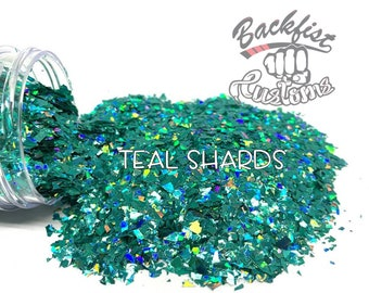TEAL SHARDS  || Chunky Mix Holographic Broken Shards of Glitter