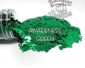 AWARENESS GREEN || BFC Exclusive Ribbon Shaped Glitter
