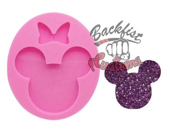MOUSE HEAD mold Without KEYCHAIN Hole || 1 Silicone mold