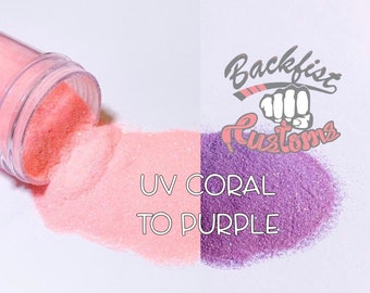 UV Coral to Purple  || UV Activated Glitter changes from Coral to Purple