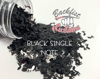 BLACK SINGLE NOTE || Chunky Music Note Shaped Glitter, Solvent Resistant