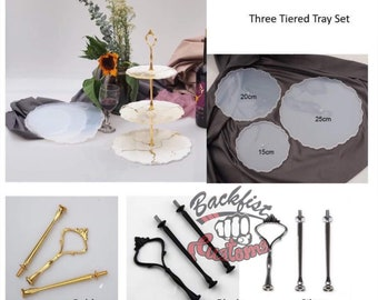 ROUND 3 TIERED TRAY Set ( Comes with 3 colors of hardware ) || 3 Silicone mold and 3 hardware sets