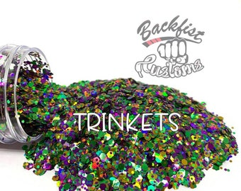 TRINKETS || Opaque Chunky Mix Glitter, Solvent Resistant Mardi Gras Mix
