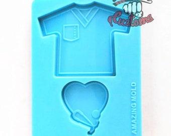 "PHONE GRIP SCRUB with Stethoscope heart 2.25""x3"" scrub top 1.5""x1.5 heart     Silicone mold"