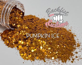 PUMPKIN ICE || Solvent Resistant, Chunky Mix Holographic Glitter