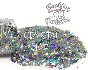 CRYSTAL ICE  || Solvent Resistant, Chunky Mix Holographic Glitter