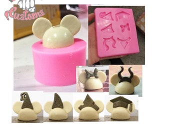 MOUSE HEAD 3.0 with addon HATS  Straw Topper Silicone mold    *newest* Designed to slide onto your straw for an exciting look