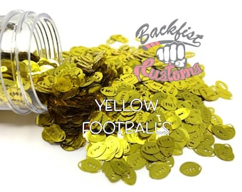YELLOW FOOTBALLS || Football Shaped Glitter, Solvent Resistant