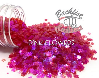 PINK FLOWERS || Flower Shaped Glitter  Solvent Resistant