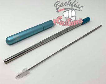 Teal Stainless Steel COLLAPSIBLE STRAW || comes with silicone tip, case, and cleaning brush