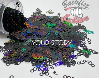 YOUR STORY || Holographic Black Semicolon Shaped Glitter