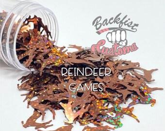 REINDEER GAMES || REINDEER Shaped Glitter, Solvent Resistant