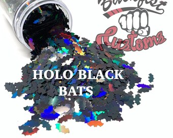HOLO BLACK BATS || Bat shaped glitter