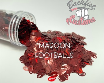 MAROON FOOTBALLS || Football Shaped Glitter, Solvent Resistant