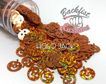 HOLO JACK || Holographic Orange PUMPKIN Shaped Glitter