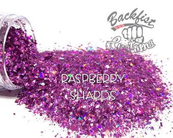 RASPBERRY SHARDS  || Chunky Mix Holographic Broken Shards of Glitter