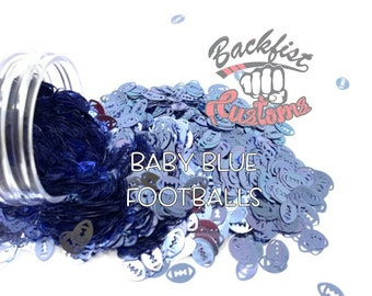 BABY BLUE FOOTBALLS || Football Shaped Glitter, Solvent Resistant
