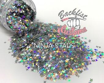 NINJA STARS || Holographic 4 Pointed Stars Shaped Glitter