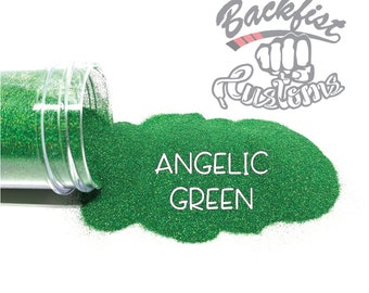ANGELIC GREEN || Holographic Micro Fine Glitter, Solvent Resistant