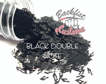 BLACK DOUBLE NOTE || Chunky Music Note Shaped Glitter, Solvent Resistant