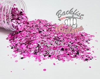 DAZZLE DOTS    Pink Mixed Dot Shaped Glitter