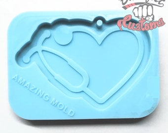 STETHOSCOPE NURSE HEART 3in x 2in  Keychain mold || 1 Silicone mold