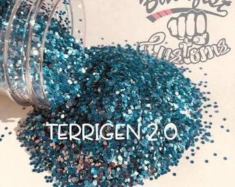 TERRIGEN 2.0 ( Silver/Blue )  || Solvent Resistant, Chunky Chameleon Glitter
