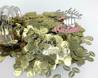 GOLD FOOTBALLS || Football Shaped Glitter, Solvent Resistant