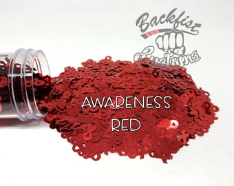 AWARENESS RED || BFC Exclusive Ribbon Shaped Glitter