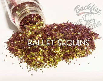 BALLET SEQUINS ( Pink/Yellow )  || Solvent Resistant, Chameleon Glitter