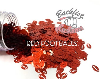RED FOOTBALLS || Football Shaped Glitter, Solvent Resistant