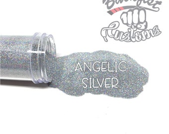 ANGELIC SILVER    Holographic Micro Fine Glitter, Solvent Resistant