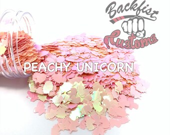 PEACHY UNICORN || Unicorn Head Shaped Chunky Glitter, Solvent Resistant